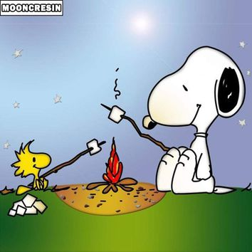 5D Diamond Painting Snoopy and Woodstock Campfire Kit