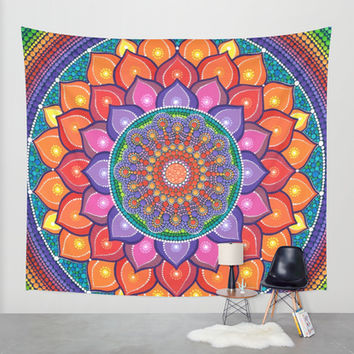 Lotus Rainbow Mandala Wall Tapestry by Elspeth McLean