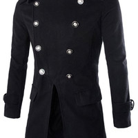 Multi-Button Epaulet Design Woolen Long Sleeves Peacoat