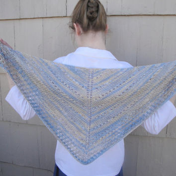 Hand Knit Shawl, Silk & Seacell, Prayer Shawl, Wrap, Triangle Shawl, Blue + Brown