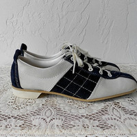 Vintage Oxfords Shoes, 80's Blue & White Suede Leather Oxfords, Lace Up Oxfords, Leather Oxfords Shoes