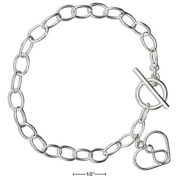 "Sterling Silver 7.5"" Open Heart Infinity Symbol Toggle Bracelet"