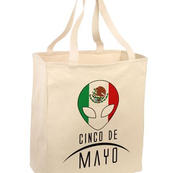 Mexican Extraterrestrial Text Large Grocery Tote Bag by TooLoud