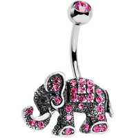 Pink Gem Lucky Little Elephant Belly Ring