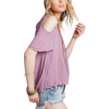 Free People Womens Bittersweet Linen Blend Cold Shoulder Casual Top