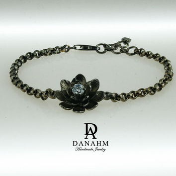 Flower Bracelet with Desert Diamond, Sterling Silver, Black Silver Plated, BR009D