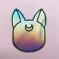 Holographic Moon Cat - Sticker