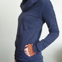 hooded top with pockets Navy/Rust Orange