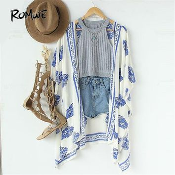ROMWE Summer Womens Tops and Blouses Casual Ladies Half Sleeve Open-Front Vintage Pattern Print Loose Kimono
