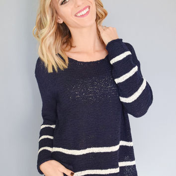 Sunday Morning Striped Sweater Navy