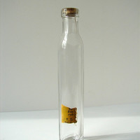 Vintage Tall Narrow Glass Bottle / Vial with Cork by ThirdShift