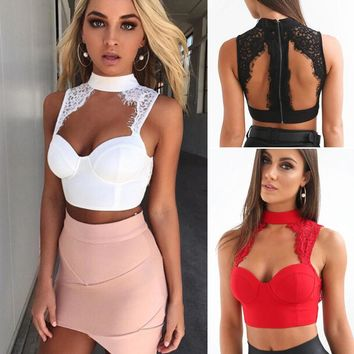 Women Sexy Lady Lace Sleeveless Crop Tops Blouse Shirt Bustier Bralette Tank Tops Black White 2 Colors Solid Strapless Crop Top