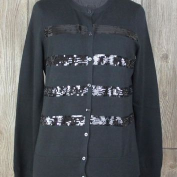 New Lands End Cardigan Sweater S 6 8 size Black Sequins Womens Career Casual