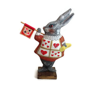 White Rabbit-Rabbit Alice in Wonderland-Wonderland Rabbit-White Rabbit toy-Gift rabbit-Figurine Rabbit-Interior toy-Miniature bunny-Fantasy