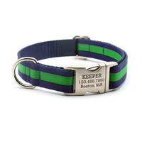 Preppy Layered Stripe Dog Collar with Personalized Buckle - Navy/Emerald
