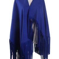 Blue Tasseled Knit Scarf