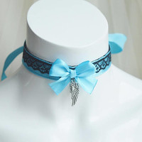 Premade Kitten play day collar - Blue angel - two toned ddlg cgl princess fairy kei kawaii cute neko lolita pet pastel choker neko costume