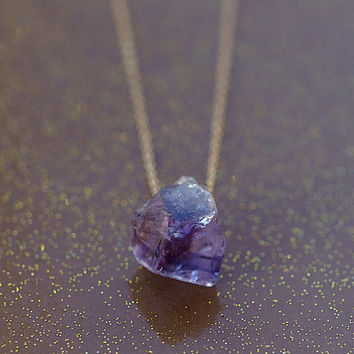 Raw Amethyst and Gold Necklace Rough Gemstone Crystal Handmade Jewelry