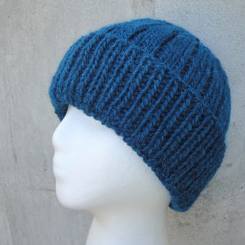 Teal Blue Beanie Hat, Men Guys Teen Boys, Hand Knit Llama/Wool, Watch Cap, Warm Winter,