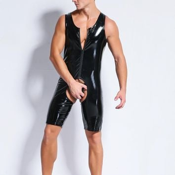 Hole Out Catsuit Men Sexy Faux Latex Leather Wetlook Costumes Gay Men Body Harnesses Wear Sexy Game Apparel Teddies Bodysuits