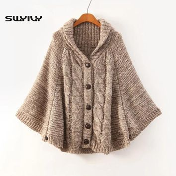 Women Sweater Loose Cloak 2016 Autumn New Japanese Style Female Sweater Cardigan Poncho Cape Coat
