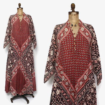 0f6e10b8ea4 Vintage 70s Indian Cotton Dress   1970s Pointed Sleeve Ethnic Ba