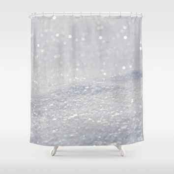 Silver Gray Glitter Sparkle Shower Curtain by SimplyChic