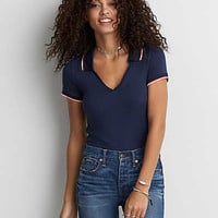 AEO Soft & Sexy Ribbed Tipped Polo , Deep Waters