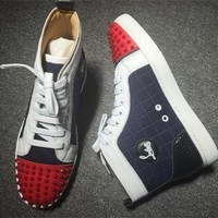 DCCK2 Cl Christian Louboutin Lou Spikes Style #2212 Sneakers Fashion Shoes