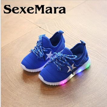 SexeMara kids Five-pointed sneakers with led light spring summer boys sport running shoes girls net breathable casual Shoes