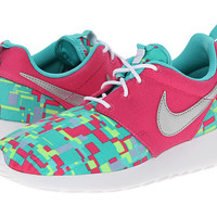 Nike Kids Roshe Run Print (Little Kid/Big Kid) Vivid Pink/Hyper Jade/Volt/Metallic Silver - Zappos.com Free Shipping BOTH Ways