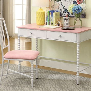 Coco collection pink and white finish wood and metal desk and chair with turned legs
