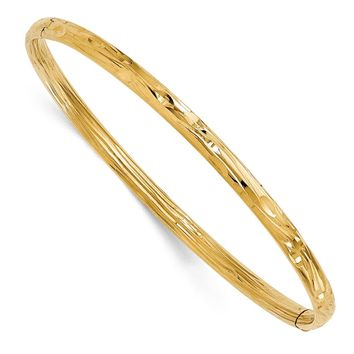 4mm 14k Yellow Gold Diamond Cut Hinged Bangle Bracelet