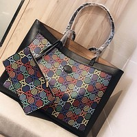 GUCCI Fashion New More Letter Print Leather Shoulder Bag Handbag Two Piece Suit Black