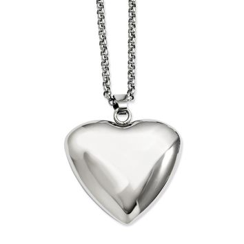 Stainless Steel Polished Puffed Heart Pendant Necklace
