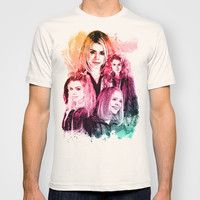 Rose Tyler Billie Piper inspired Mixed Media Watercolor  T-shirt by Purshue feat Sci Fi Dude