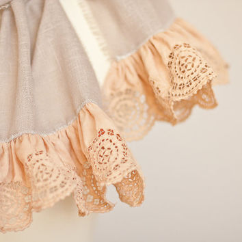 Linen Scarf Vintage French Lace Natural Taupe Beige by frenchfelt