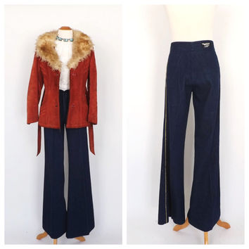Vintage 1970s Bell Bottoms High Waist wide leg Jeans Flare Pants Wings of California 70s Denim Palazzo Pants Disco Women's Jeans Size 7