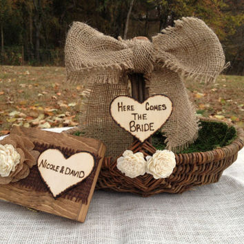 Shabby Chic Flower Girl Basket AND Matching Ring Bearer Box - Rustic Wedding Decor - Shabby Chic Wedding