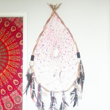 Large Dreamcatcher- Wall Accent- Bohemian Decor- Pink & White- Wall Accent- Boho Home Decor- Feathers- Beads- BohoChic- Gypsy Mermaid