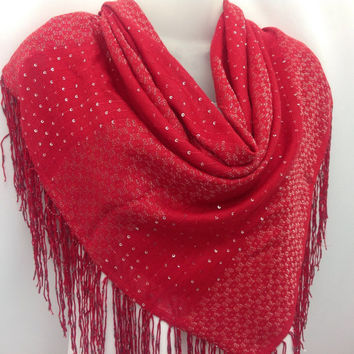 Poppy Red Scarf, Holiday gift, Red square shawl, Gift for Mother in law Fancy Piano Shawl, Gift for Best Friend, Birthday gift for Sister