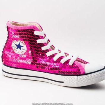 DCCK1IN hot fuchsia pink sequin converse all star hi top