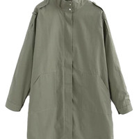 Olive Stand Collar Long Sleeve Longline Trench Coat