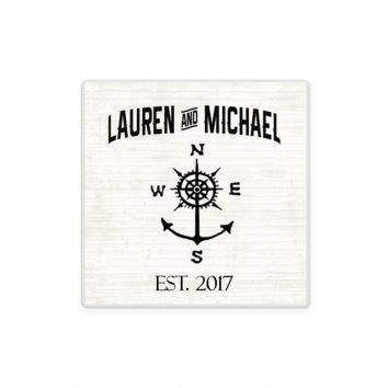 Nautical Compass Anchor Personalized Stone Coasters