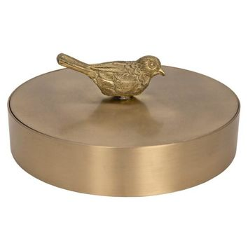 Kevina Brass Jewelry Box w/ Bird Knob