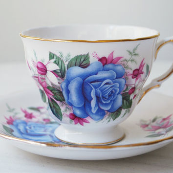 Royal Vale Teacup and Saucer, Blue Rose Tea Cup