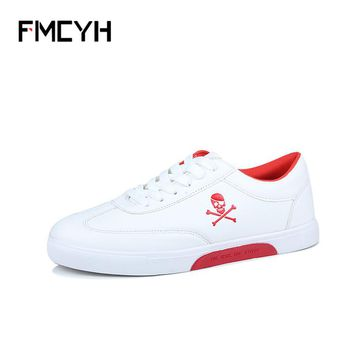 Shoes Flat Casual Skull Pattern White Breathable Wear-Resistant Men's Shoes Boys Comfortable Lace-Up