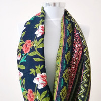 Mothers Day Gift ,Floral Boho Spring Scarf,Rose patterned infinity scarves,Tribal Scarf