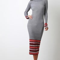 Striped Hem Ribbed Knit Dress