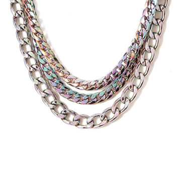 Striking Oil Slick Chain Necklace